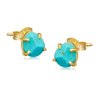 Missoma Gold Turquoise Nugget Stud Earrings  - Click to view larger image