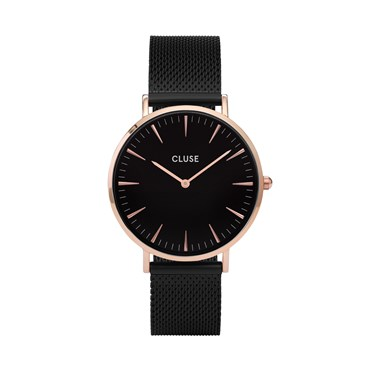 CLUSE La Bohème Black Mesh Rose Gold Detail Watch  - Click to view larger image