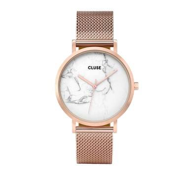 CLUSE La Roche Mesh Rose Gold & White Marble Watch  - Click to view larger image