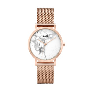 CLUSE La Roche Petite Mesh Rose Gold & White Marble Watch  - Click to view larger image