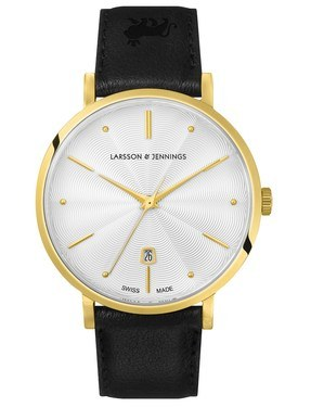 Larsson & Jennings  LUGANO 38MM GUILLOCHE DIAL GOLD/WHITE  - Click to view larger image