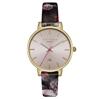 Ted Baker Kate Gold Chelsea Print Burgandy Watch  - Click to view larger image