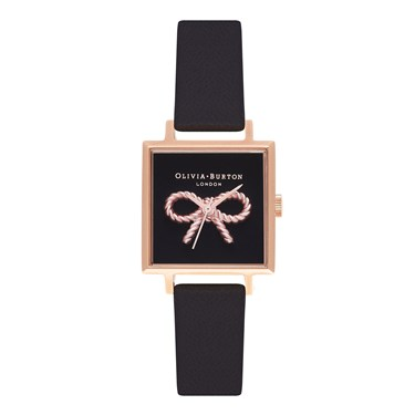 Olivia Burton Vintage Bow Black & Rose Square Watch  - Click to view larger image