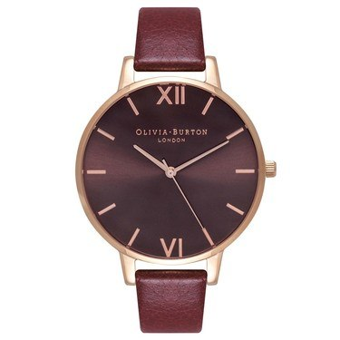 Olivia Burton Chocolate Dial Burgundy & Rose Gold Watch  - Click to view larger image