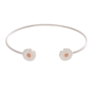 Olivia Burton Daisy Open Ended Silver & Rose Gold Bangle  - Click to view larger image