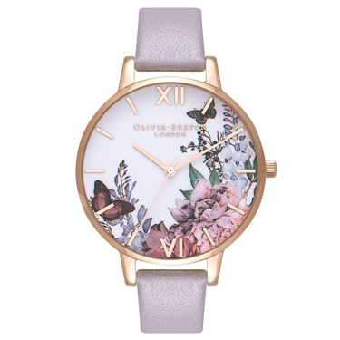 Olivia Burton Winter Garden Grey Lilac & Rose Gold Watch  - Click to view larger image