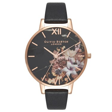 Olivia Burton Marble Floral Black & Rose Gold Watch  - Click to view larger image