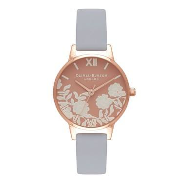 Olivia Burton Lace Detail Chalk Blue & Rose Gold Watch  - Click to view larger image