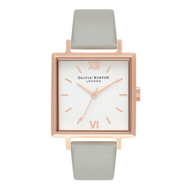 Olivia Burton Big Square Dial Grey & Rose Gold Watch  - Click to view larger image