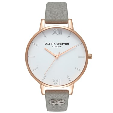 Olivia Burton Vintage Bow Embellished Grey Watch  - Click to view larger image