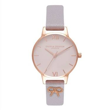 Olivia Burton Vintage Bow Embellished Strap Lilac Watch  - Click to view larger image