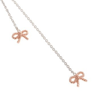 Olivia Burton Vintage Bow Rose Gold & Silver Necklace   - Click to view larger image