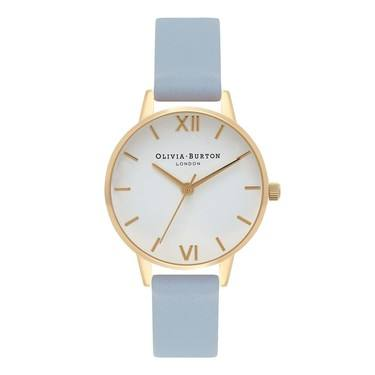 Olivia Burton Midi White Dial Chalk Blue & Gold Watch  - Click to view larger image