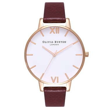 Olivia Burton Big Dial White Dial Burgundy & Rose Gold  - Click to view larger image