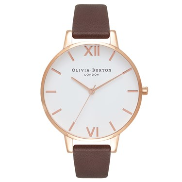 Olivia Burton White Dial Chocolate & Rose Gold Watch  - Click to view larger image