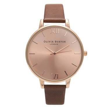 Olivia Burton Big Dial Chocolate & Rose Gold Watch  - Click to view larger image