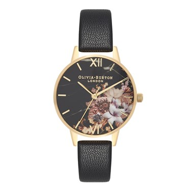 Olivia Burton Marble Floral Black & Gold Watch  - Click to view larger image
