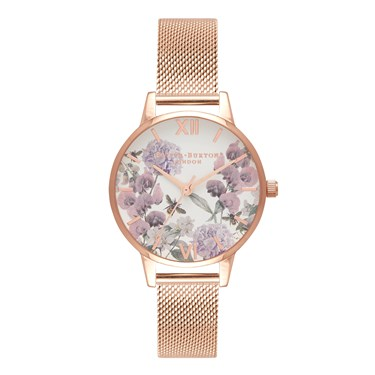 Olivia Burton Enchanted Garden Bee Blooms Rose Gold Watch  - Click to view larger image