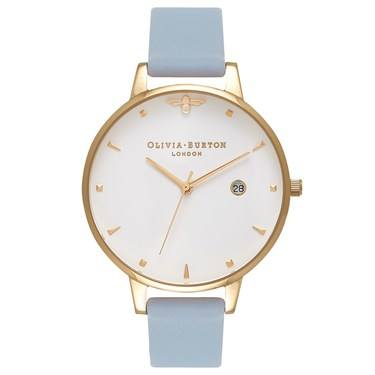 Olivia Burton Queen Bee Chalk Blue & Rose Gold Watch  - Click to view larger image