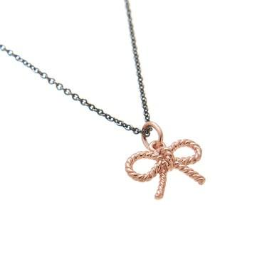 Olivia Burton Vintage Bow Charm Necklace Black & Rose Gold  - Click to view larger image