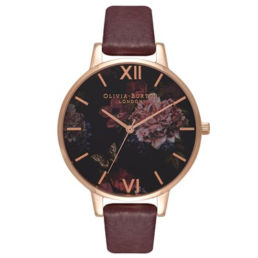 Olivia Burton Winter Garden Burgundy & Rose Gold Watch  - Click to view larger image