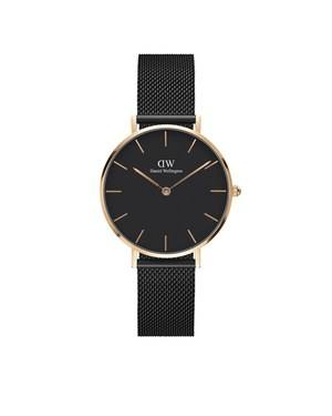 Daniel Wellington Classic Petite Ashfield Black & Rose Gold Mesh Watch  - Click to view larger image