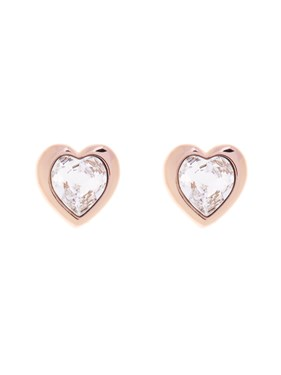 Ted Baker Han Crystal Heart Rose Gold Earrings  - Click to view larger image