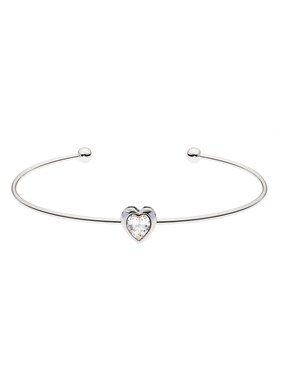 Ted Baker Silver Crystal Heart Ultrafine Cuff 1