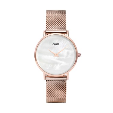 CLUSE Minuit La Perle Rose Gold Mesh Watch  - Click to view larger image