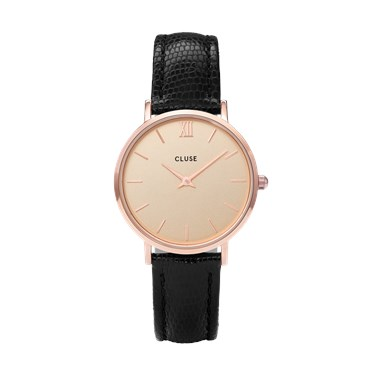CLUSE Minuit Rose Gold & Black Lizard Watch  - Click to view larger image