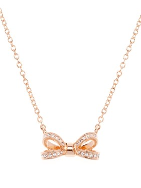 Ted Baker Olira Opulent Pavé Bow Rose Gold Pendant   - Click to view larger image