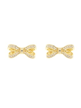 Ted Baker Olitta Mini Opulent Pavé Bow Gold Earrings  - Click to view larger image