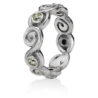 Pandora Lime Zirconia Scroll Ring