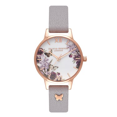 Olivia Burton 3D Butterfly Embellished Grey Lilac Watch  - Click to view larger image