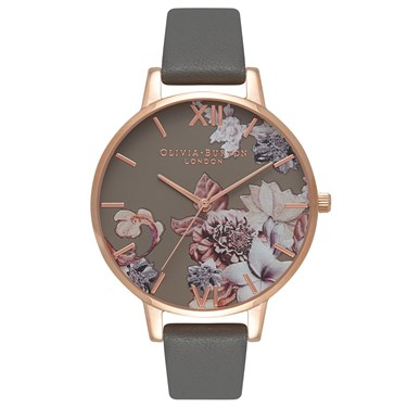 Olivia Burton Marble Floral Dark Grey & Rose Gold Watch  - Click to view larger image