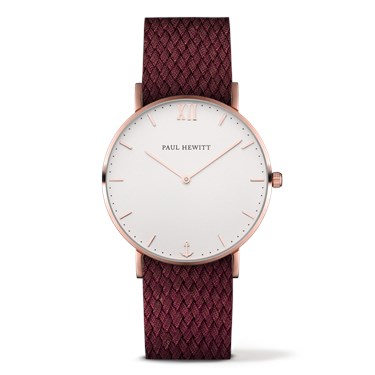 Paul Hewitt Sailor Line Rose Gold & Red Watch  - Click to view larger image
