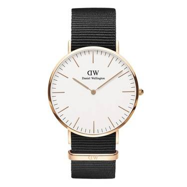 Daniel Wellington Classic Cornwall 40mm Rose Gold & Black NATO Watch  - Click to view larger image