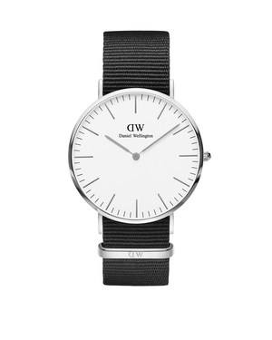 Daniel Wellington Classic Cornwall 40mm Silver & Black NATO Watch  - Click to view larger image