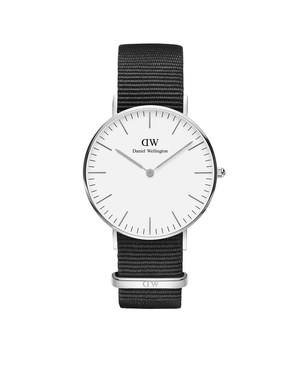 Daniel Wellington Classic Cornwall 36mm Silver & Black NATO Watch  - Click to view larger image