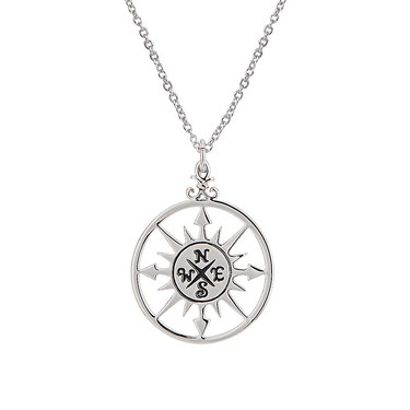 Karma Silver Compass Necklace   - Click to view larger image