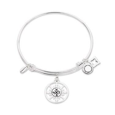 Karma Silver Compass Bangle  - Click to view larger image
