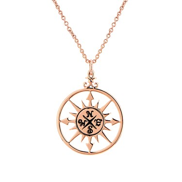 Karma Rose Gold Compass Necklace   - Click to view larger image