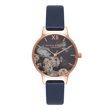 Olivia Burton Signature Floral Navy & Rose Gold Watch  - Click to view larger image