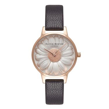 Olivia Burton 3D Daisy Black & Rose Gold Watch  - Click to view larger image