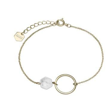 CLUSE Idylle Gold Open Circle Marble Hexagon Chain Bracelet  - Click to view larger image