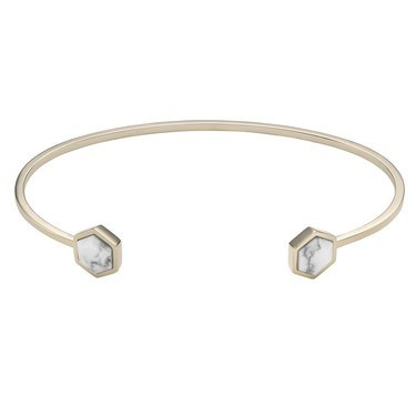 CLUSE Idylle Gold Marble Hexagons Open Cuff Bracelet  - Click to view larger image