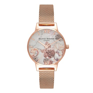 Olivia Burton Marble Floral Rose Gold Mesh Watch  - Click to view larger image