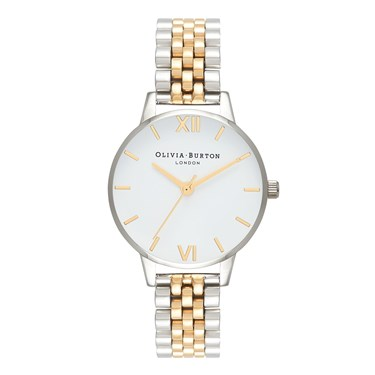 Olivia Burton Midi White Dial Gold & Silver Watch  - Click to view larger image