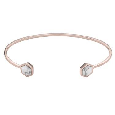 CLUSE Idylle Rose Gold Marble Hexagons Open Cuff Bangle  - Click to view larger image
