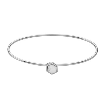 CLUSE Idylle Silver Marble Hexagon Bangle  - Click to view larger image